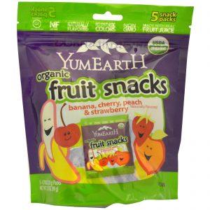 YumEarth - Organic Fruit Snacks, Banana, Cherry, Peach & Strawberry (99 gr) 1