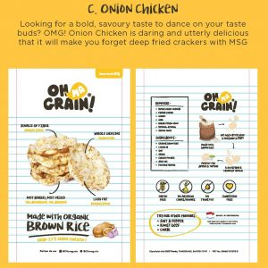Oh Ma Grain - Organic Brown Rice Crackers Snack Onion Chicken 50 gr 2