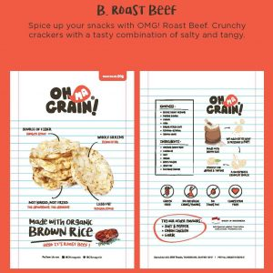 Oh Ma Grain - Organic Brown Rice Crackers Snack Roast Beef 50 gr 2