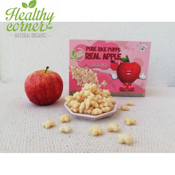 Natural Rice Puffs Real Apple Gluten Free Cemilan Sehat 5 Packs X